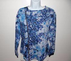 Kardashian Kollection Women's Blue Animal Floral Full Zip L/S Jacket Size S $68 #KardashianKollection #BasicJacket