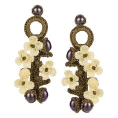 Hand Crocheted Flower Earrings - Ivory