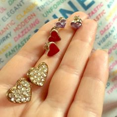 Heart post bundle Gold studded//red//purple rhinestone//price shows bundle $2 each Jewelry Earrings