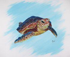 John Moon Painting - Cruisin Turtle by John Moon Sea Turtle Jewelry, Sea Turtle Art, Turtle Painting, Moon Painting, Painted Clothes, Art Life, Paintings, Wall Art, Canvas