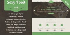 Sexy Food is a premium multi-purpose and professional HTML template for Restaurants, Cafe, Cakes, Cooking, Bakeries, Sweets or Food Business. The template is fully responsive and mobile friendly to look great on multiple devices and it's also retina ready.  The template can be customized easily to suit your needs, also it has full list of elements and a lot of short codes to build your website quickly and professionally.  #food #blog #design #template #html