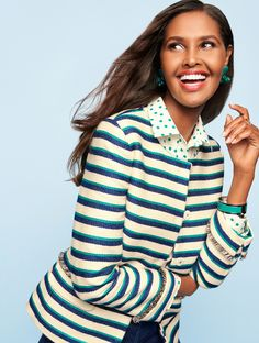 Layer on style this season! The Stripe Fringe Jacket is the perfect combination of fashion and fun thanks to polished stripes in playful shades and two-tone fringe trim at the waistline and sleeves. | Talbots