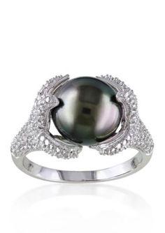 Belk  Co.  Sterling Silver Black Tahitian Pearl and Diamond Ring