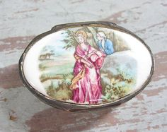 Porcelain and Silver Pill Box