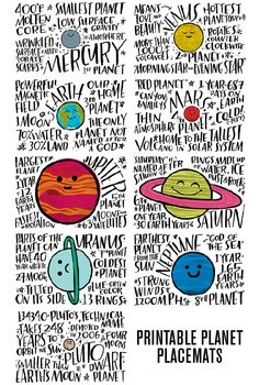 Fun Fact Placemats: Planets - Lorii My World Space Activities, Science Activities, Activities For Kids, Science Facts, Teaching Science, Fun Facts, Earth And Space Science, Earth From Space, Solar System Projects