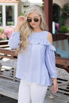 1775a33f21a570 Cute Cold Shoulder Top- Blue and White Blouse-  34- Juliana s Boutique