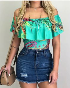 Trendy Ideas For Moda Outfits Fashion Shorts Cute Casual Outfits, Girly Outfits, Teen Fashion Outfits, Fashion Shorts, Teenager Outfits, Feminine Style, Everyday Outfits, Spring Outfits, Denim Skirt