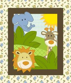 Baby Quilt Top Fabric Panels | Safari Fun Flannel Quilt Top Panel
