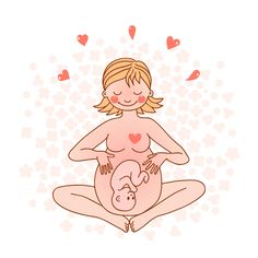 Illustration of Illustration of a happy pregnant woman Vector illustration vector art, clipart and stock vectors. Pregnancy Images, Pregnancy Art, Mother And Baby, Mom And Baby, Birth Art, Birth Affirmations, Pregnancy Affirmations, Waiting For Baby, Baby Co
