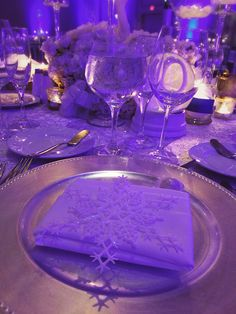 Winter theme, table details- Event planned by Jessica's Event's.