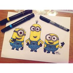 "Brita Lynn Thompson on Instagram: ""three little yellow guys, have you seen the movie yet? #zentangle #zenspire #blynndesigns #art #minions #despicableme #sharpie #prismacolors"""