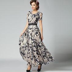 9a40d4b850ef 2014 new women s summer long dress slim chiffon print V neck long length  dress short sleeve