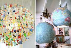 globe lamp | Upcylced Plastic Chandelier & Globe Shades, Image Source pinterest.com ...
