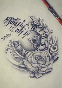 เปี๊ยก Dad Tattoos, Clock Tattoos, Future Tattoos, Rose Tattoos, Chicano Tattoos, Family Tattoos, Badass Tattoos, Flower Tattoos, Sleeve Tattoos
