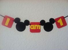 """Mickey Mouse Highchair banner """"I am 1"""", I am 2, Mickey garland, Mickey high chair, Mickey Mouse birthday on Etsy, $11.50"""