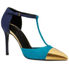 Pre-owned Gucci Multi Color Block Suede Heels Size 38. 5/ 8.5 Blue/... (€330) ❤ liked on Polyvore featuring shoes, pumps, gucci, blue shoes, color block pumps, multi colored pumps and colorful pumps