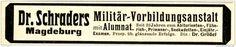 Original-Werbung/ Anzeige 1915 - DR. SCHRADERS MILITÄR - VORBEREITUNGS - ANSTALT MAGDEBURG - ca. 115 x 20 mm