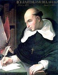 Bartolomé de las Casas, priester die met christoffel Columbus meeging. Hij staat bekend door het reisverslag van de eerste reis naar het voormalige Amerika.