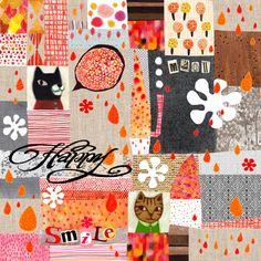 Hui Skipp - cat and abstract geometric pattern