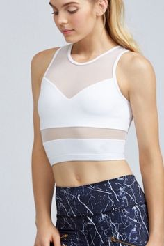 Look for performance bralettes and crop tops