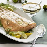 The bright flavors of lemon and fresh dill enhance this roasted salmon dish.
