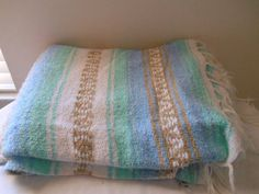 Vintage woven Mexican pastel fringed Rug Blanket by houuseofwren