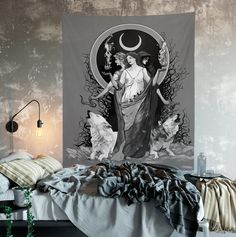 Hecate Tapestry - Black White Moon Goddess - Moon and Wolves Tapestry Witchy Art Gothic #GothicTapestry #moongoddess #WolfTapestry #WitchesAndWolves #WitchArt #WitchyTapestry #WitchyArt #HecateArt #HecateTapestry #MoonGoddess