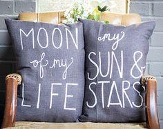 Kissen > handgemachte Baumwolle Kissen > Mond meines Lebens > meine Sonne & Sternen > handgemalte Zitat Kissen > dekorative Throw Pillow > Spiel der Throne
