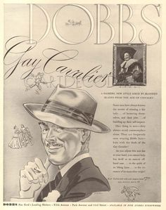 VTG 1940 Gay Laughing Cavalier DOBBS Mens Hat FRANS HALS Painting Art Fashion Ad | Collectibles, Advertising, Merchandise & Memorabilia | eBay!