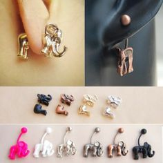 Unisex Elephant Pierced Earring Cross Animal Stud Earrings Xmas Valentine's Gift | eBay
