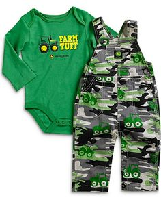 John Deere Infant-Boys' Farm Tuff Onesie And Overalls Set - Back40Trading2
