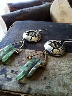 Silver and Bronze Tectonic Blast Earrings with Green Kyanite