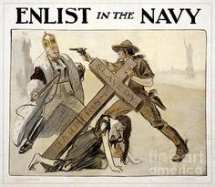 "Enlist In The Navy Vintage WWI Poster  Restored and digitally enhanced World War I poster showing Uncle Sam, in the uniform of a soldier, protecting a woman who has collapsed beneath a cross inscribed ""Slavery"" and ""Barbarism."" Uncle Sam also points a revolver at the Kaiser, who wears a crown and royal robes and brandishes a whip. Statue of Liberty visible in background. Imperfections and tears removed. Colors corrected. Image courtesy of Library of Congress."