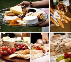 Elegant Picnic Wedding Food - Select Cheeses, Crackers, Breads & Spreads... Fruits, and even vegetables will go with your theme. For dessert simple squares (along with your wedding cake!)  www.facebook.com/yourvictoriawedding