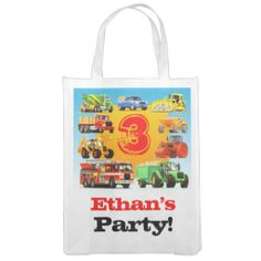 3rd Truck Birthday Party Favor Bag from TRUCK BIRTHDAY PARTY on Zazzle ▶ www.zazzle.com/TruckBirthdayParty* ▶ #TruckBirthdayParty #trucks #truckbirthday #truckparty #kidsparty #3rd #3rdbirthday