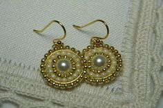 Pearl Medallion Conservative Beaded Earrings  by createdbycarla