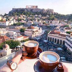 Kalimera from under the Acropolis in beautiful Greece. #athens #parthenon #acropolis #monastiraki #greek #greeks #greeklife #kalimera #morningcoffee #goodmorning.