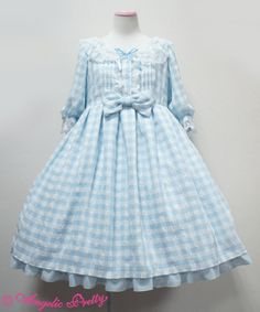 Sugary Gingham OP in Sax by Angelic Pretty. I only want this cut. I have no preference between the sax or pink colourways. Harajuku Fashion, Lolita Fashion, Gothic Fashion, Kawaii Fashion, Baby Girl Dress Patterns, Dresses Kids Girl, Beautiful Dresses For Women, Lolita Cosplay, Angelic Pretty
