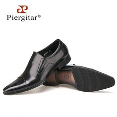 Piergitar Comfortable Genuine Leather Men Slip on Dress Shoes Pointed Toe Business Formals Oxfords Shoes for Men Men's Flat
