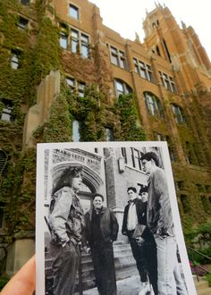 Marquette Hall in 1990 — with an admissions tour guide and visiting family — and in 2012. 1990 photo by Scott Morris, Marquette Hilltop.