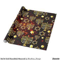 Red & Gold Hanukkah Menorah Wrapping Paper