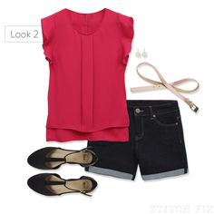 AAS- Shorts for pear-shaped women LOOK 2 This would bring some color to my face area . and it looks cool! Stitch Fix Blog, Stitch Fix Stylist, Casual Summer Outfits, Cool Outfits, Spring Outfits, Look Fashion, Fashion Outfits, Runway Fashion, Fashion Trends