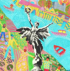 """""""Liberty"""" by Katwish. Stencil art and painting, of the Peace Statue, Lewes, UK. Mural Art, Murals, Stencil Art, Stencils, Liberty, Vibrant, Portraits, Peace, Statue"""