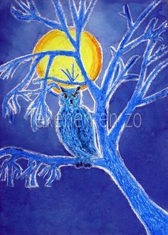 Owl in moonlight You need: white drawing paper size oil pastel blue ink brush dish with water scouring pad See the moon shining throug. Classroom Art Projects, Winter Art Projects, Art Classroom, Winter Project, Artists For Kids, Art For Kids, Bastelarbeit Winter, Classe D'art, Pastel Crayons