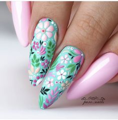 Pastel colours nails with turquoise and pink flowers. Fun floral design on lond almond nails. Perfect for easter and spring. Easy fast and beautiful nailart Nail Design Spring, Spring Nail Art, Spring Nails, Flower Nail Designs, Acrylic Nail Designs, Nail Art Designs, Nails Design, Purple Nail Art, Floral Nail Art