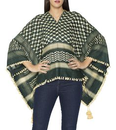 Green & Off White Polyviscose & Cotton Printed Shrug #Designerwear #kurtas #jackets #dresses #Indianfusionwear