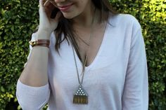 @J.Crew  crystal pyramid pendant necklace