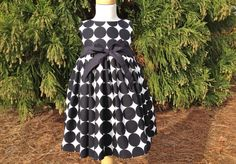 Girls Tea Length Polka Dot Dress with Empire Bodice and Fully Gathered Skirt