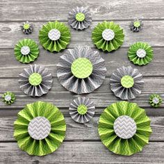 Items similar to 15 Paper Rosettes - Green and Gray Chevron Paper Fans, Party Backdrops Decoration Kit on Etsy Chevron Paper, Grey Chevron, Paper Rosettes, Paper Light, Green Party, Paper Fans, Backdrop Decorations, Backdrops For Parties, Green And Grey