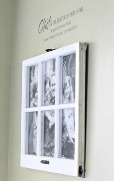 Upcycle an old window into a frame - Put different small pictures in each pane, or use one large print to add a textural element to the photo that's totally on trend.